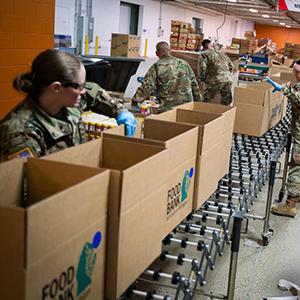 Michigan National Guard members assist at food banks during pandemnic.